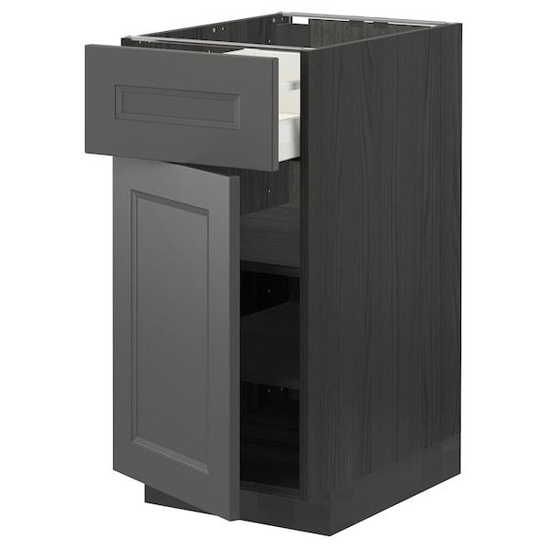 METOD / MAXIMERA Pöytäkaappi + laatikko/ovi, musta/Axstad tummanharmaa, 40x60 cm