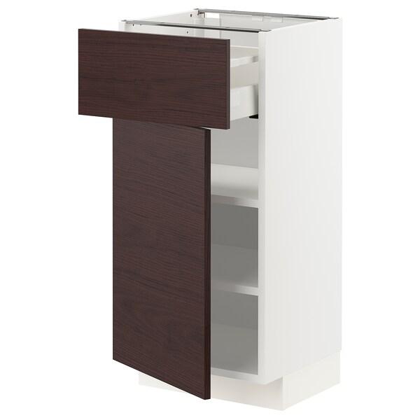 METOD / MAXIMERA Pöytäkaappi + laatikko/ovi, valkoinen Askersund/tummanruskea saarnikuvioitu kalvopinnoite, 40x37 cm