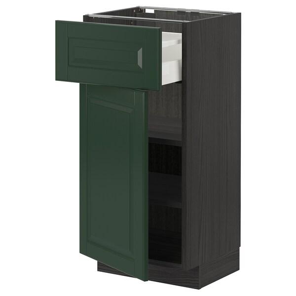 METOD / MAXIMERA Pöytäkaappi laatikolla ja ovella, musta/Bodbyn tummanvihreä, 40x37 cm