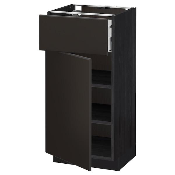 METOD / MAXIMERA Pöytäkaappi laatikolla ja ovella, musta/Kungsbacka antrasiitti, 40x37 cm