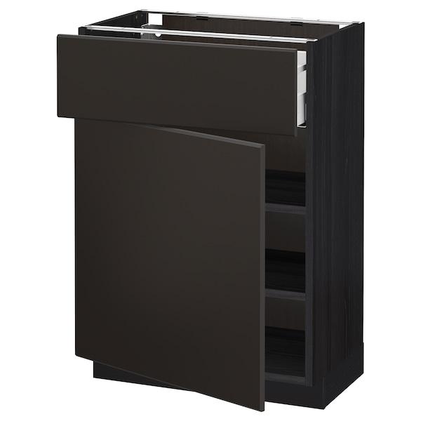 METOD / MAXIMERA Pöytäkaappi laatikolla ja ovella, musta/Kungsbacka antrasiitti, 60x37 cm