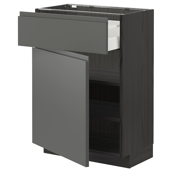 METOD / MAXIMERA Pöytäkaappi laatikolla ja ovella, musta/Voxtorp tummanharmaa, 60x37 cm