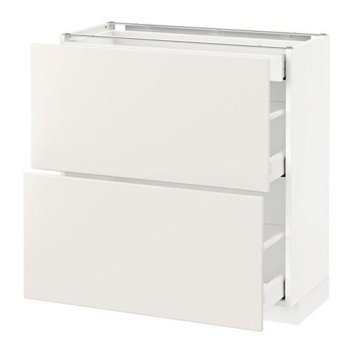 METOD  MAXIMERA Pöytäkaappi 2esrj 3laat  valkoinen, Veddinge valkoinen, 80x