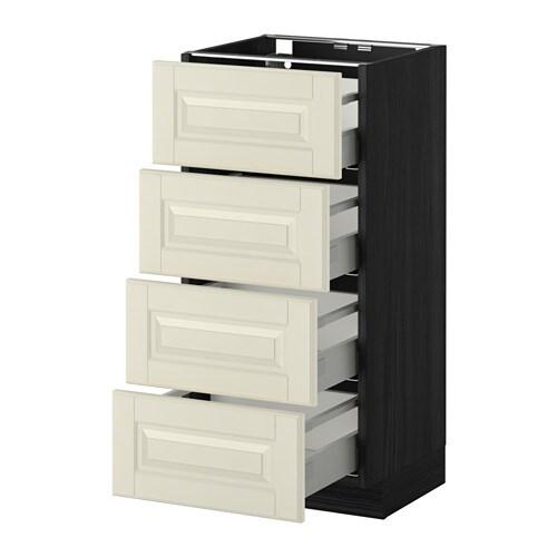 METOD  MAXIMERA Pöytäkaappi 4 etusrj 4 laatikkoa  puukuvioitu musta, Bodbyn
