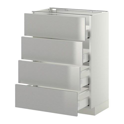 METOD  MAXIMERA Pöytäkaappi 4 etusrj 4 laatikkoa  valkoinen, Grevsta ruostu
