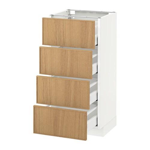 METOD  MAXIMERA Pöytäkaappi 4 etusrj 4 laatikkoa  valkoinen, Ekestad tammi,