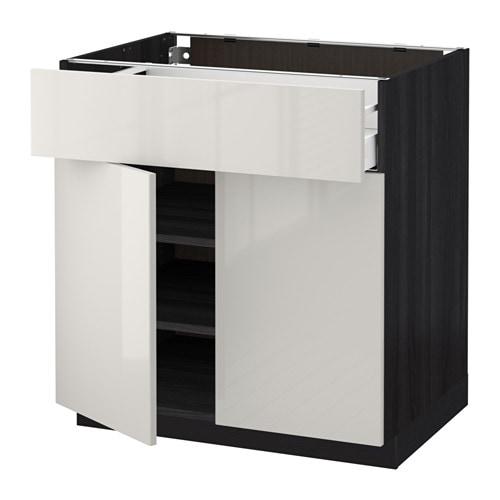 METOD  MAXIMERA Pöytäkaappi laatikko 2 ovea  puukuvioitu musta, Ringhult ko