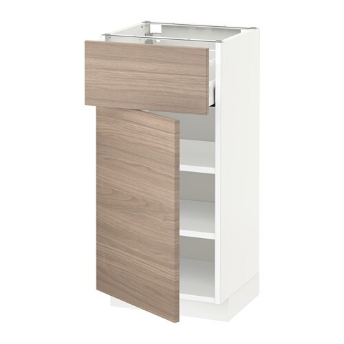 METOD  MAXIMERA Pöytäkaappi + laatikko ovi  valkoinen, Brokhult pähkinäpuuk