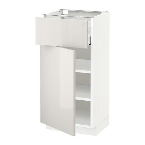 METOD  MAXIMERA Pöytäkaappi + laatikko ovi  valkoinen, Ringhult korkeakiilt
