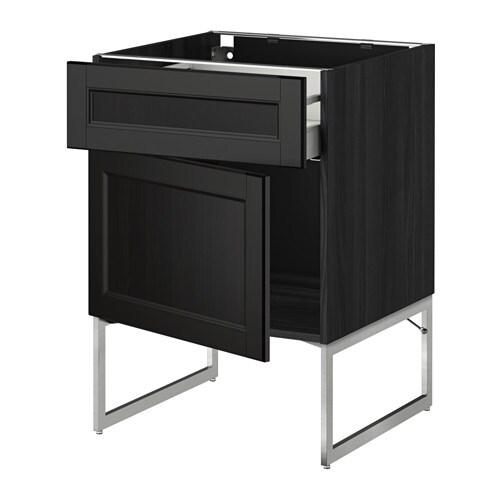 METOD  MAXIMERA Pöytäkaappi + laatikko ovi  puukuvioitu musta, Laxarby must