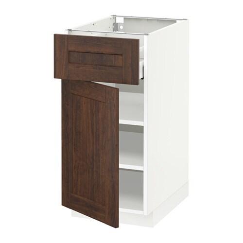 METOD  MAXIMERA Pöytäkaappi + laatikko ovi  valkoinen, Edserum puukuvioitu