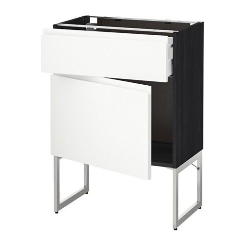 METOD  MAXIMERA Pöytäkaappi + laatikko ovi  puukuvioitu musta, Voxtorp valk