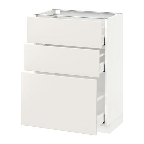 METOD  MAXIMERA Pöytäkaappi + 3 laatikkoa  valkoinen, Veddinge valkoinen, 6