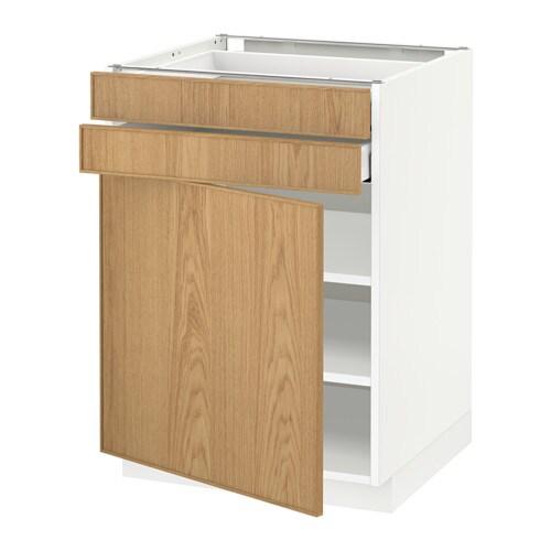 METOD  MAXIMERA Pöytäkaappi + ovi 2 laatikkoa  valkoinen, Ekestad tammi, 60