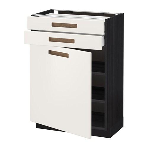 METOD  MAXIMERA Pöytäkaappi + ovi 2 laatikkoa  puukuvioitu musta, Märsta va