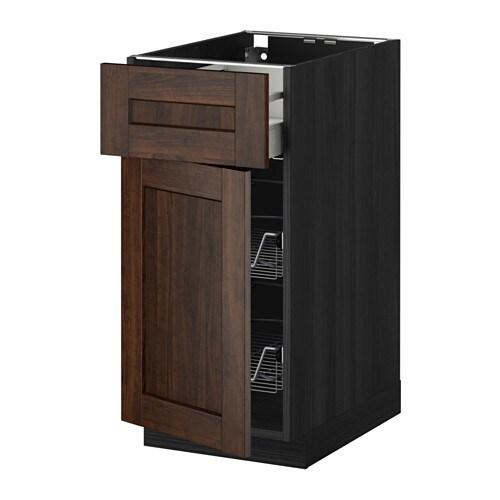 METOD  MAXIMERA Pöytäkaappi+ritkori laat ovi  puukuvioitu musta, Edserum pu