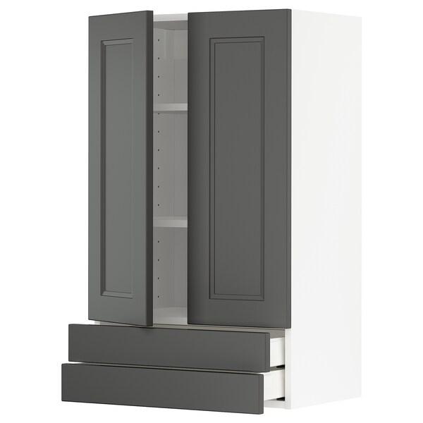 METOD / MAXIMERA Seinäkaappi 2 ovea/2 lt, valkoinen/Axstad tummanharmaa, 60x100 cm