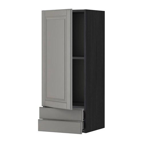 METOD  MAXIMERA Seinäkaappi ovi 2 laatikkoa  puukuvioitu musta, Bodbyn harm