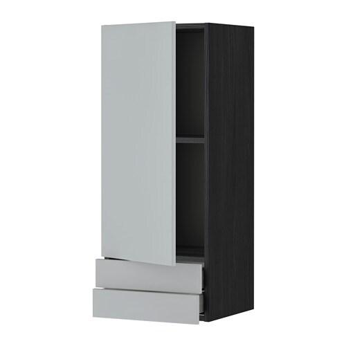 METOD  MAXIMERA Seinäkaappi ovi 2 laatikkoa  puukuvioitu musta, Veddinge ha