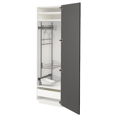 METOD / MAXIMERA Siivouskaappi, valkoinen/Axstad tummanharmaa, 60x60x200 cm