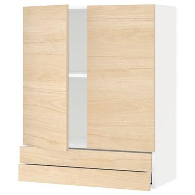 METOD / MAXIMERA seinäkaappi 2 ovea/2 laatikkoa valkoinen/Askersund vaalea saarnikuvio 80.0 cm 38.6 cm 100.0 cm