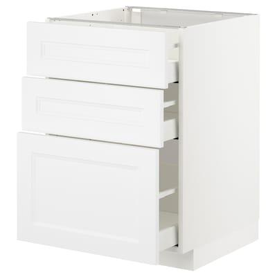 METOD Pöytäkaappi + 3 laatikkoa, valkoinen/Axstad matta valkoinen, 60x60 cm