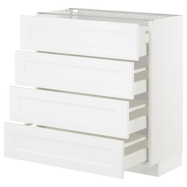 METOD Pöytäkaappi 4 etusrj/4 laatikkoa, valkoinen/Axstad matta valkoinen, 80x37 cm