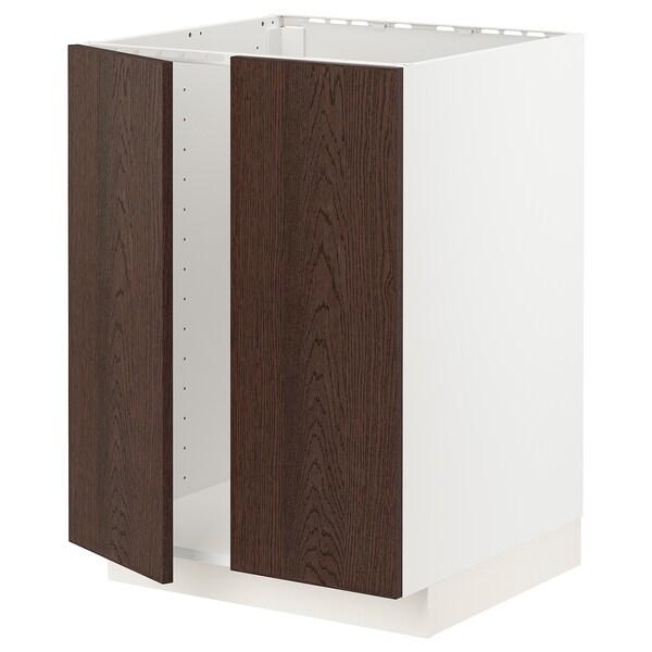 METOD Pöytäkaappi altaalle + 2 ovea, valkoinen/Sinarp ruskea, 60x60 cm