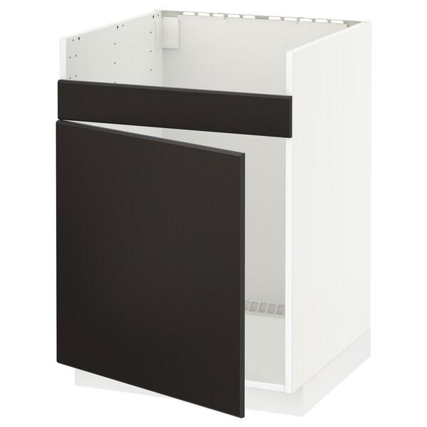 METOD Pöytäkaappi HAVSEN-altaalle, valkoinen/Kungsbacka antrasiitti, 60x60 cm