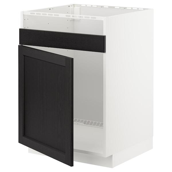 METOD Pöytäkaappi HAVSEN-altaalle, valkoinen/Lerhyttan mustaksi petsattu, 60x60 cm