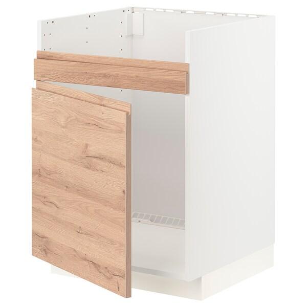 METOD Pöytäkaappi HAVSEN-altaalle, valkoinen/Voxtorp tammikuvio, 60x60 cm
