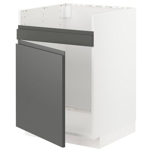 METOD Pöytäkaappi HAVSEN-altaalle, valkoinen/Voxtorp tummanharmaa, 60x60 cm