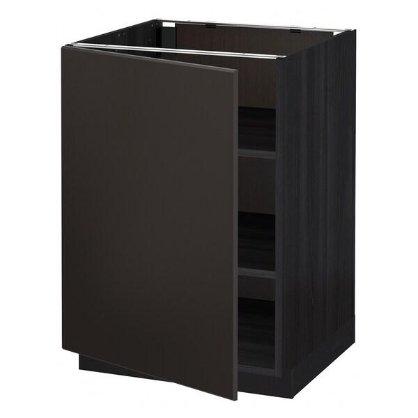METOD Pöytäkaappi ja hyllyt, musta/Kungsbacka antrasiitti, 60x60 cm