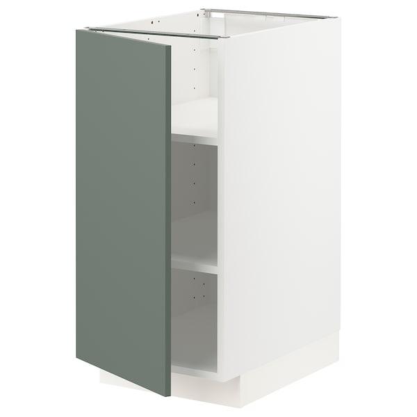 METOD Pöytäkaappi ja hyllyt, valkoinen/Bodarp harmaanvihreä, 40x60 cm