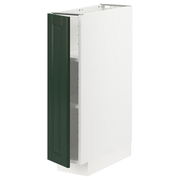 METOD Pöytäkaappi ja hyllyt, valkoinen/Bodbyn tummanvihreä, 20x60 cm