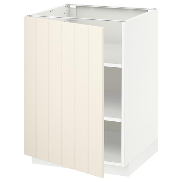 METOD Pöytäkaappi ja hyllyt, valkoinen/Hittarp luonnonvalkoinen, 60x60 cm