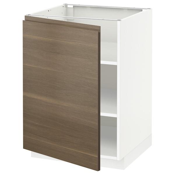 METOD Pöytäkaappi ja hyllyt, valkoinen/Voxtorp pähkinäpuukuvio, 60x60 cm