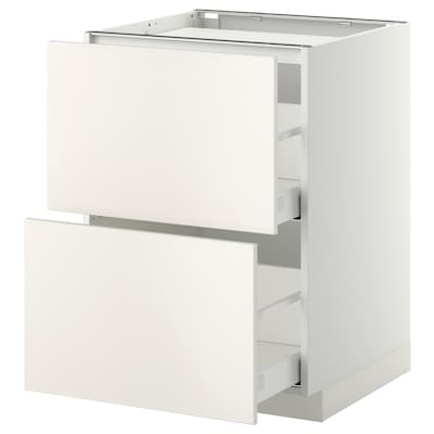 METOD Pöytäkaappi keittotas/2 esrj/2 lt, valkoinen/Veddinge harmaa, 60x60 cm