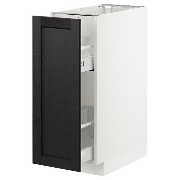 METOD Pöytäkaappi + ulos ved. sisusteet, valkoinen/Lerhyttan mustaksi petsattu, 30x60 cm
