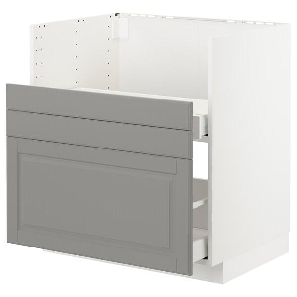 METOD Pöytäkp BREDSJÖN-alt/2 etusarj/2 lt, valkoinen/Bodbyn harmaa, 80x60 cm