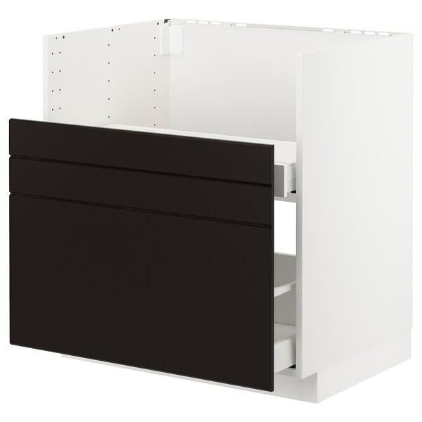 METOD Pöytäkp BREDSJÖN-alt/2 etusarj/2 lt, valkoinen/Kungsbacka antrasiitti, 80x60 cm