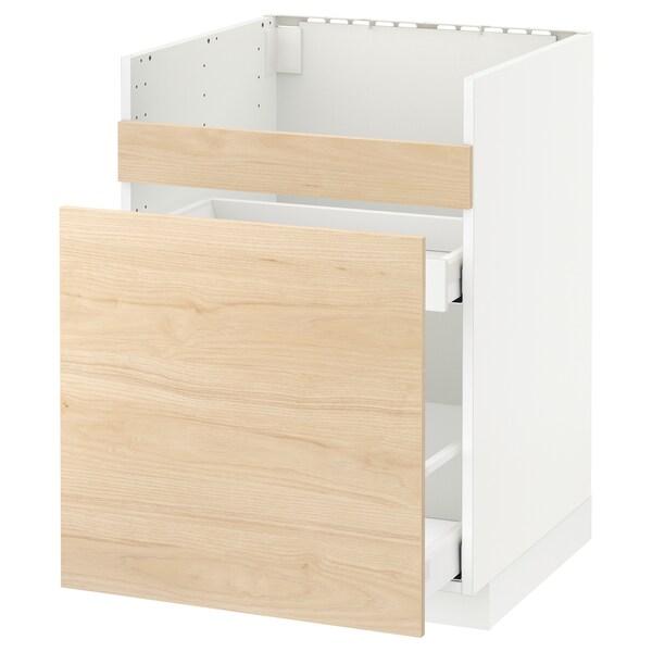 METOD Pöytäkp HAVSEN-alt/3 etusarj/2 laat, valkoinen Maximera/Askersund vaalea saarnikuvio, 60x60 cm