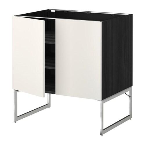 METOD Pöytäkaappi+hyllylevy 2 ov  puukuvioitu musta, Veddinge valkoinen, 80x