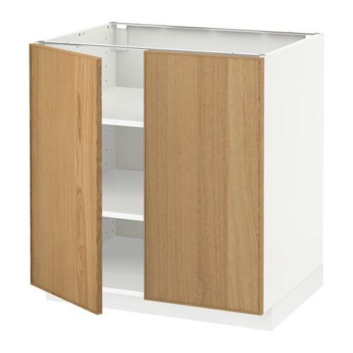 METOD Pöytäkaappi+hyllylevy 2 ov  valkoinen, Ekestad tammi, 80×60 cm  IKEA