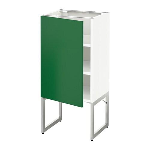METOD Pöytäkaappi+hyllylevy  valkoinen, Flädie vihreä