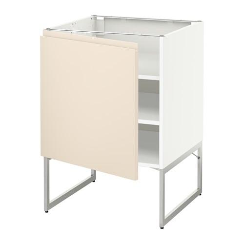 METOD Pöytäkaappi+hyllylevy  valkoinen, Voxtorp vaalea beige, 60x60x60 cm