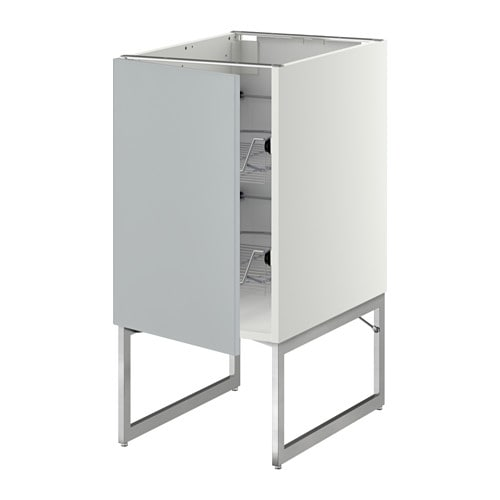 METOD Pöytäkaappi+ritiläkorit  Veddinge harmaa, 40x60x60 cm  IKEA