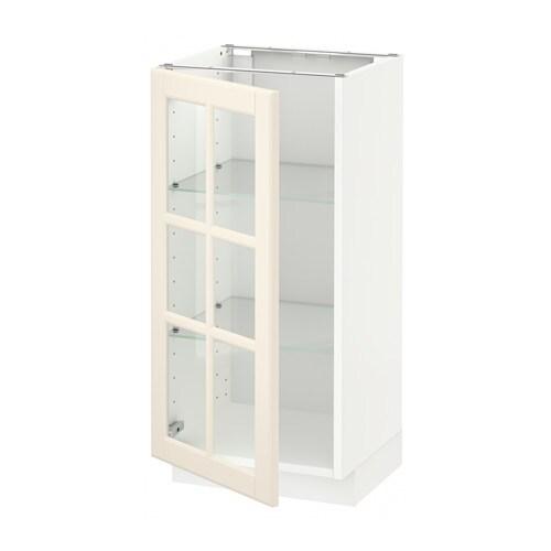 METOD Pöytäkaappi+vitriiniovi  valkoinen, 40x37x80 cm  IKEA