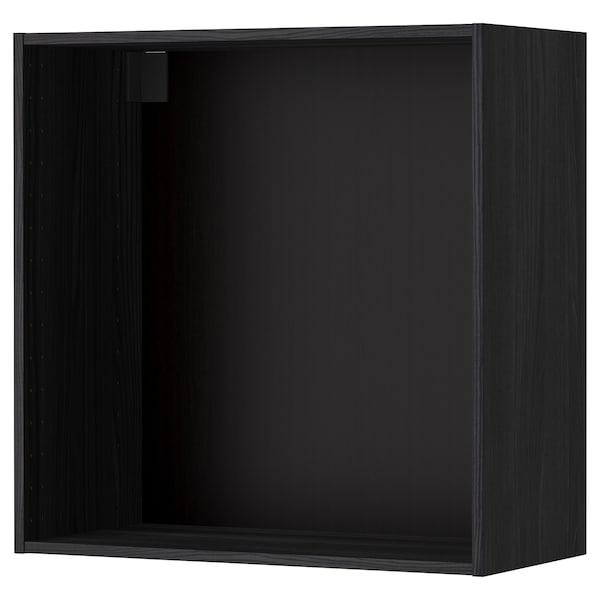 METOD Seinäkaapin runko, puukuvioitu musta, 80x37x80 cm