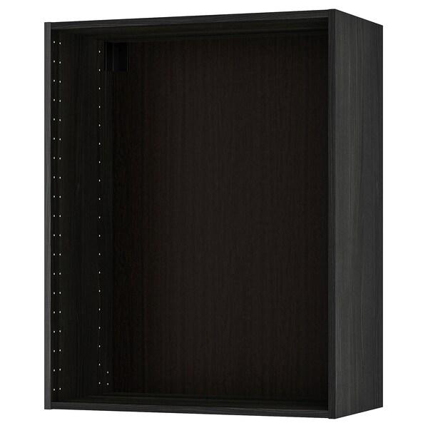 METOD Seinäkaapin runko, puukuvioitu musta, 80x37x100 cm
